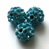 Shamballa 10 mm - tyrkys (10 ks)