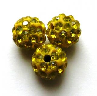 Shamballa 10 mm - žltá (10 ks)